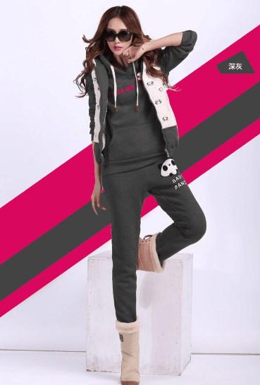 Sports three-piece Slim was thin panda embroidery plus velvet thickening sports suit
