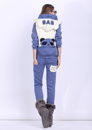 Sports three-piece Slim was thin panda embroidery plus velvet thickening sports suit