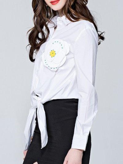 大人気カジュアルコットンベルト付き裾折り襟切り替え長袖シャツ