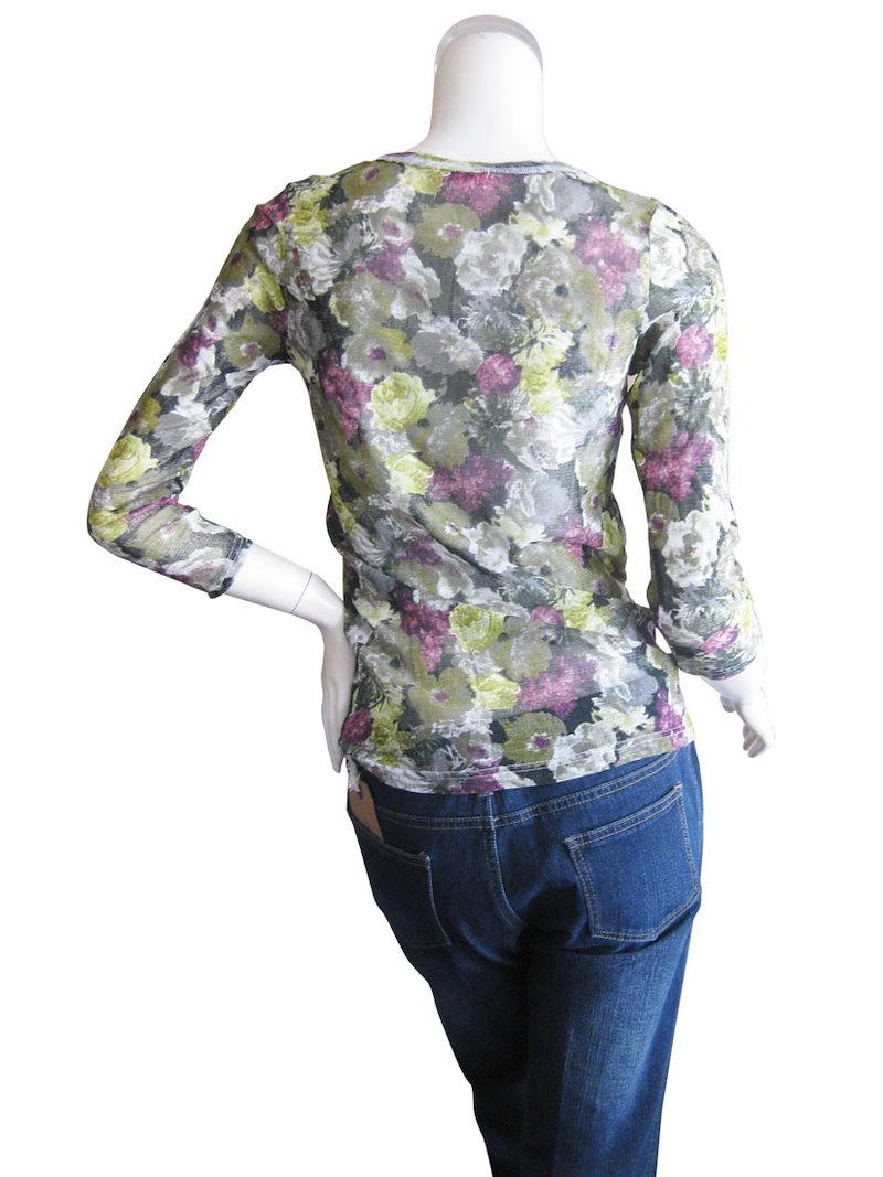 日本製 綿100% アートな花柄がお洒落なアンサンブル L