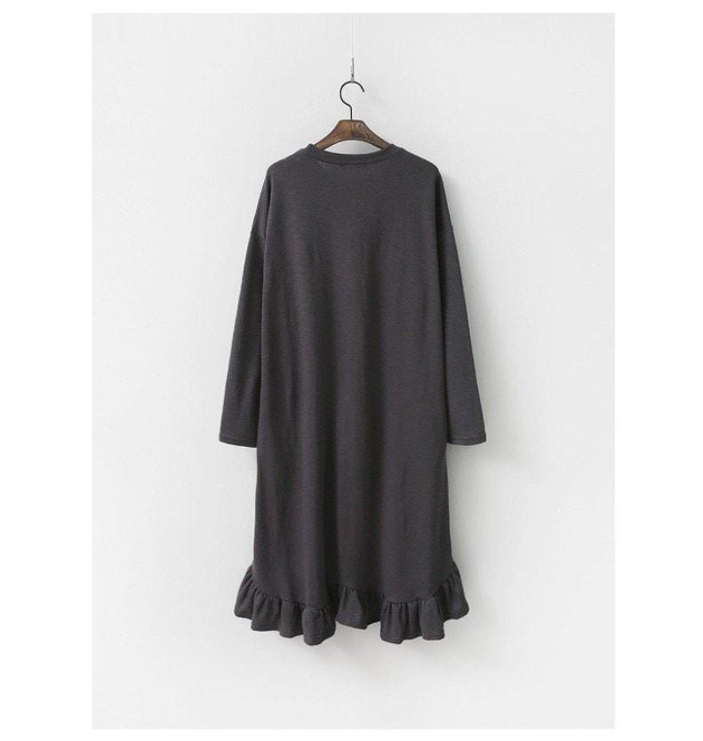 『韓国製』SELLISHOP  Easy フリル ワンピース「大きいサイズ 大人 韓国 ファッション・結婚式・フォマール 黒 フレア 30代 40代 50代 スレンダー・Aライン,上品・ロング ミセス