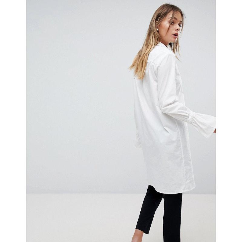 ヴィラ レディース トップス ブラウス・シャツ【Vila Longline Shirt with Fluted Sleeve】White