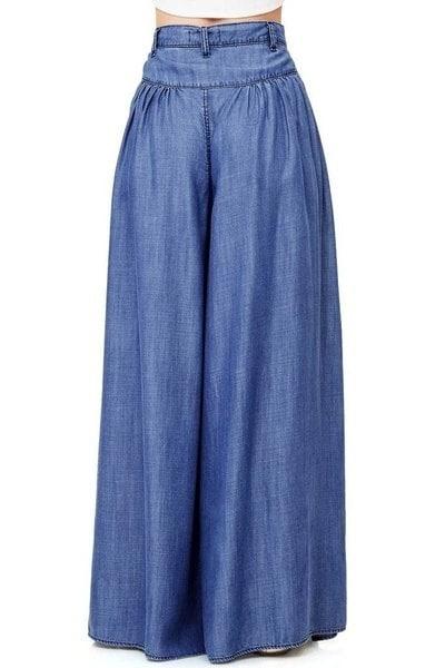 新しい到着の女性ファッションワイドレッグルーズカジュアルブルーデニムパンツボトム