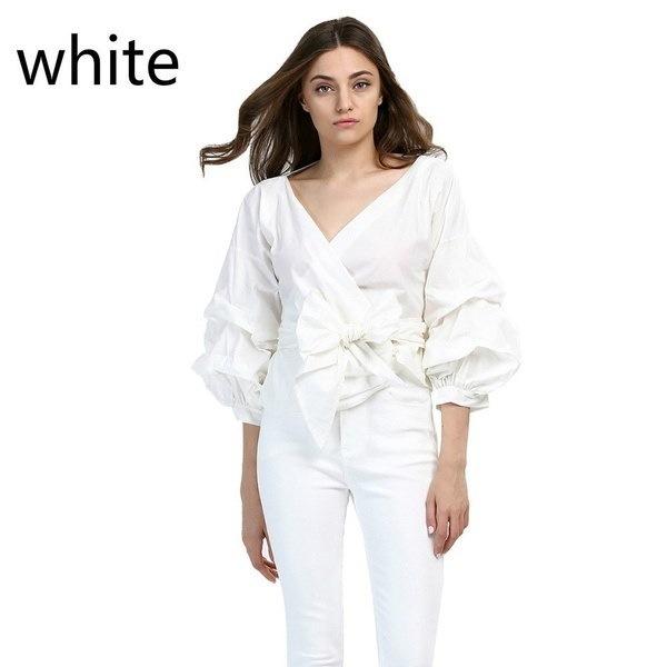 女性ファッションホワイトフリルブラウスVネックレディースエレガントトップス衣類シャツトップス女性服B1