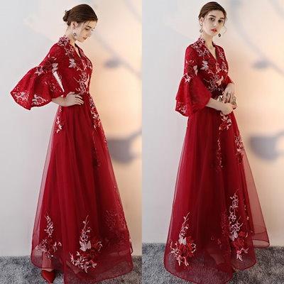 刺繍入り エスニック ロング ドレス 結婚式 お色直し パーティー シルバーグレー