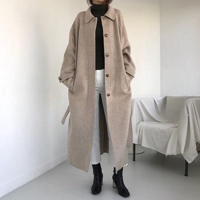 マキシ丈 ロングコート 大人っぽい ウエストリボン