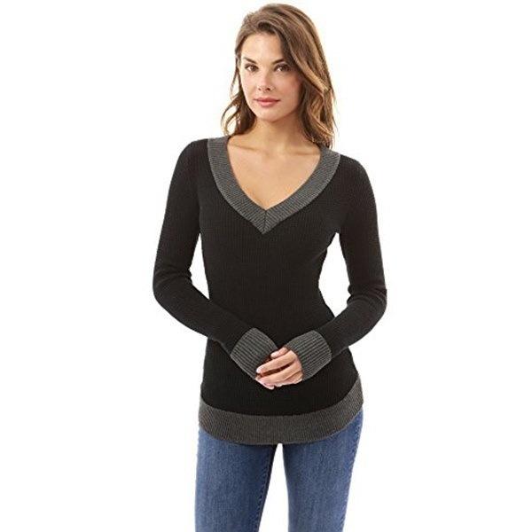 2017女性のVネックロングスリーブカジュアル曲線裾セーター女性ファッショントップス