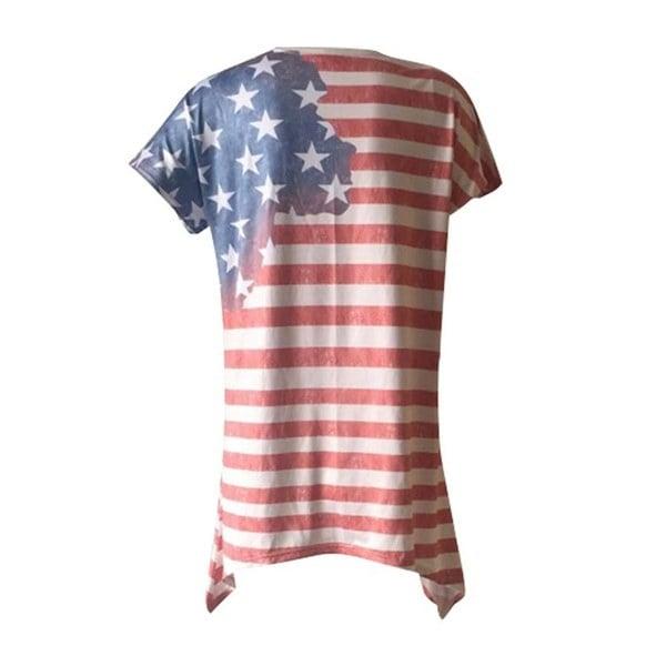 2017 Women 4th of July TシャツAmerican Flag ShirtバギースターズストライプブラウスシャツS-2XL