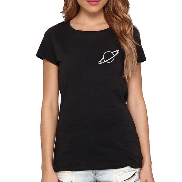 Saturn T-shirts Saturn Pocket Shirt Tumblr Unisex UFO Tee Star Shirts Space Shirt Casual Cotton Funn
