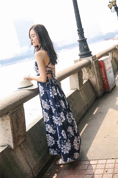 サマードレス 花柄プリント 背中見せ セクシー ロングワンピース ボヘミアン スリット ビーチ 海外旅行 海 夏 お出かけ(80-21)※納期に10日から14日ほどかかります。