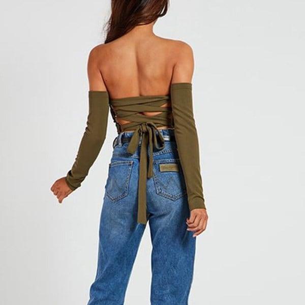 トップス女性ファッションバンデージチューブトップセクシーなストラップレスバックレスロングスリーブショートスタイルTシャツ