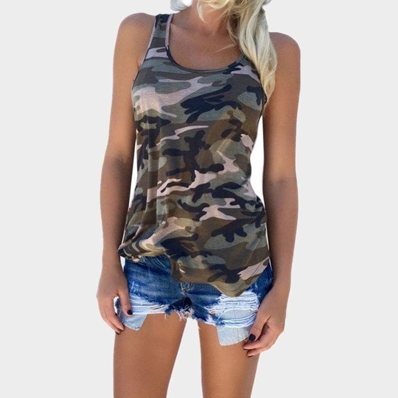 夏の新しいカモフラージュファッション野生のノースリーブラウンドネックTシャツ女性S  -  5XL