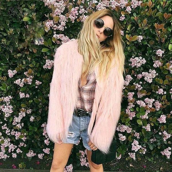 - 秋冬の女性の流行のフェイクファー毛皮のシャギージャケットコートアウタートップ