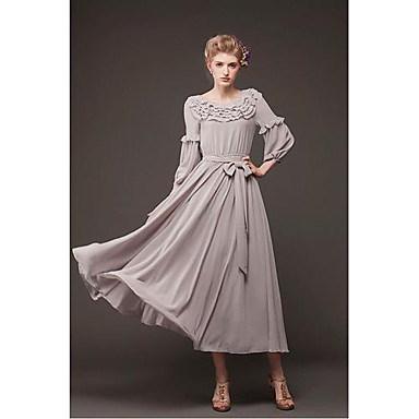 女性の新しいファッションヴィンテージフリルシフォンロングドレス