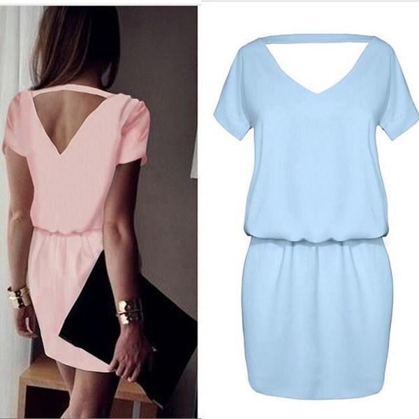 2017 Summer Women Sexy Backless Solid Short Sleeve Chiffon Mini Dress Vestidos