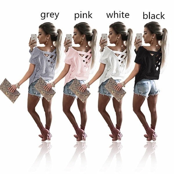 ファッションレディースバッククロスストラップショートスリーブカジュアルTシャツ