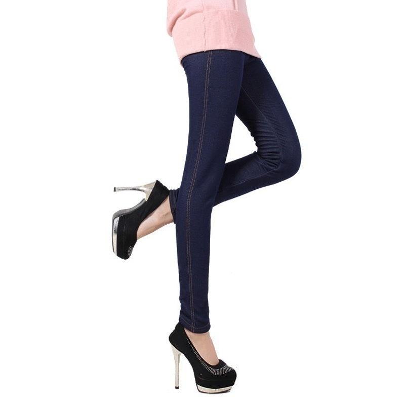 PETFANS STORE暖かい冬のレギンス女性デニムパンツのファッションフリース