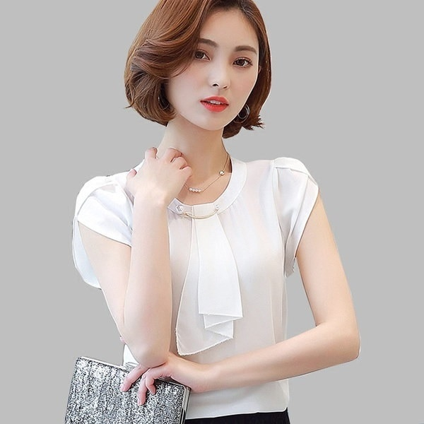 2017 Summer Solid Chiffon Blouse Shirt Women Tops Short Sleeve Shirt Women Ladies Office Blouses Fas