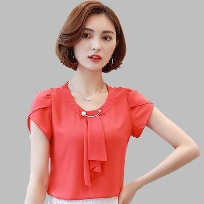 2017 Summer Solid Chiffon Blouse Shirt Women Tops Short Sleeve Shirt Women Ladies Office Blouses Fas