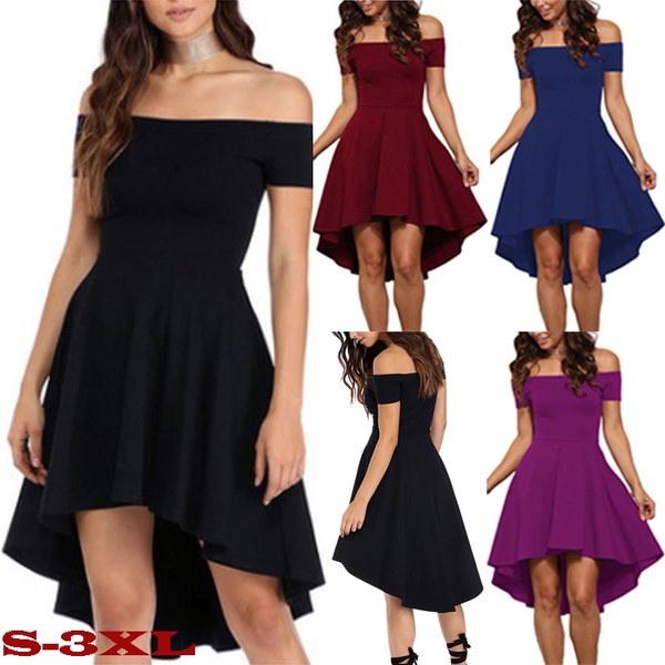 女性のファッションソリッドカラーイブニングドレス半袖スラッシュネックショルダードレスオフセクシーな不規則な