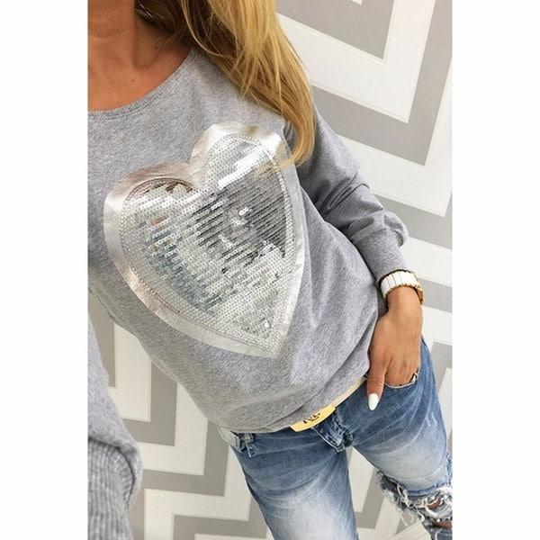秋Tシャツ女性ハートスパンコールトップラウンドネックハートシェイプロングスリーブレディースシャツトップスラージ