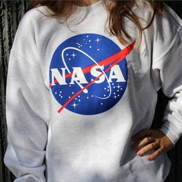 Women NASA Printed Pullover Sweatshirt Loose Jumper Baseball Tee Tops Blouse