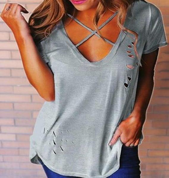 女性のファッション夏ソリッドカラーVネック半袖シャツトッププラスサイズXS  -  5XL