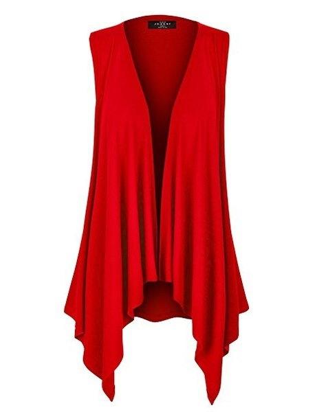 女性のファッションプラスサイズの純色不規則ノースリーブカーディガントップZH5567