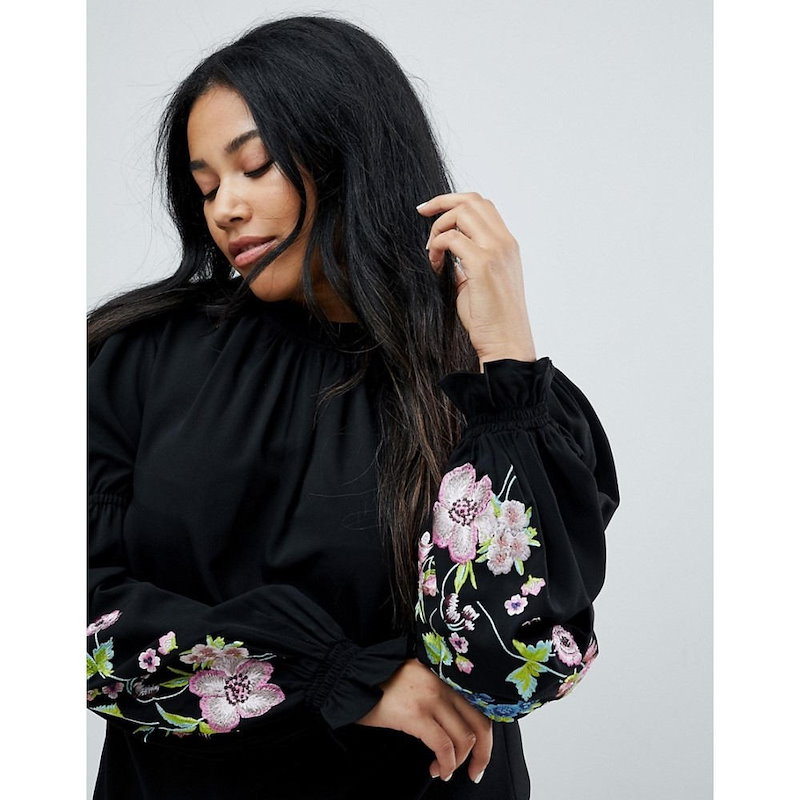 エイソス レディース トップス【ASOS CURVE Top with Embroidered Sleeve】Midnight