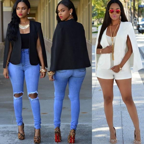 Fashion Women s Slim Lapel Cape Casual Business Blazer Suit Jacket Coat Outwear