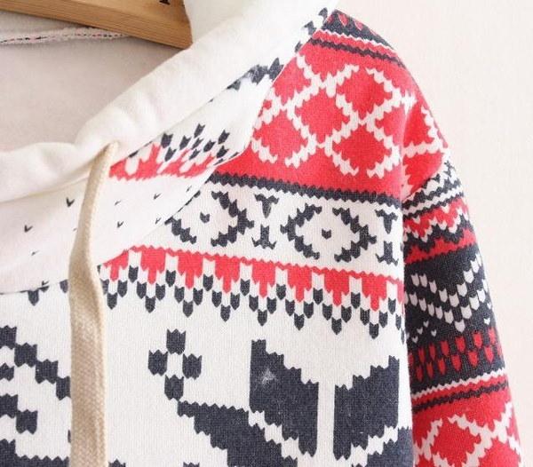 レトロスノーフレークプリントレディーススウェットシャツ長袖厚手フード付きフリーストップス