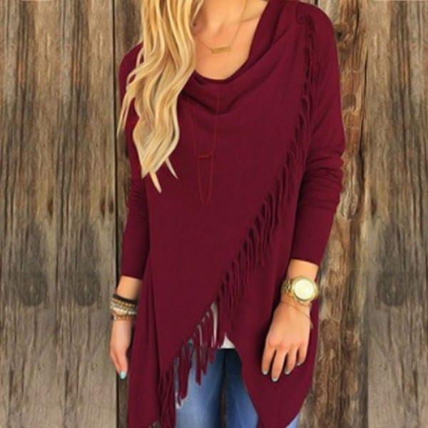Women Long Sleeve Knitted Cardigan Loose Sweater Outwear Jacket Tassels Coat