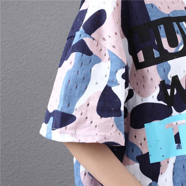 ラウンドネックシャツ☆ 迷彩 カジュアル レディース 夏 メッシュ素材 爽やか ワンピース