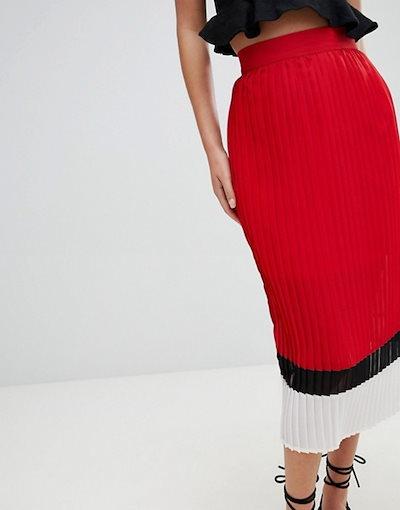 プリティリトルシング レディース スカート ボトムス PrettyLittleThing Color Block Pleated Skirt