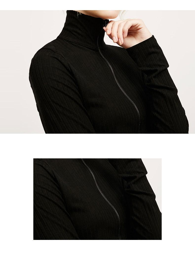 黑色长袖短款高领打底针织衫女修身薄款拉链针织外套开衫内搭上衣