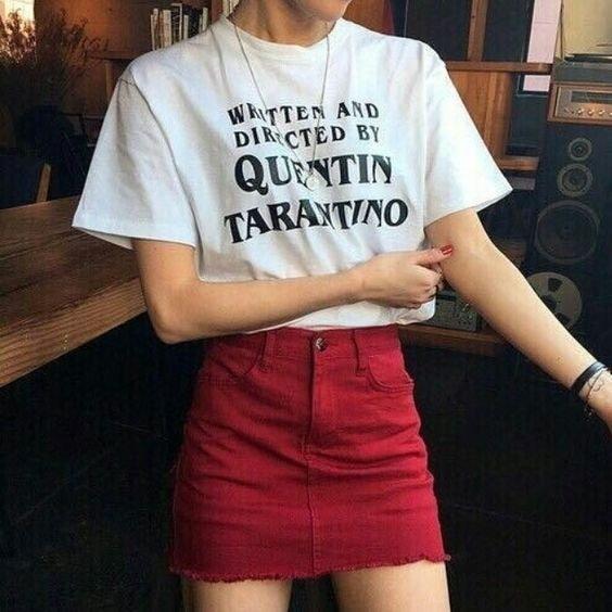 Quentin Tarantinoによって書かれ、指揮された手紙プリントTシャツUnisex Tumblrファッションカジュアルルーズ
