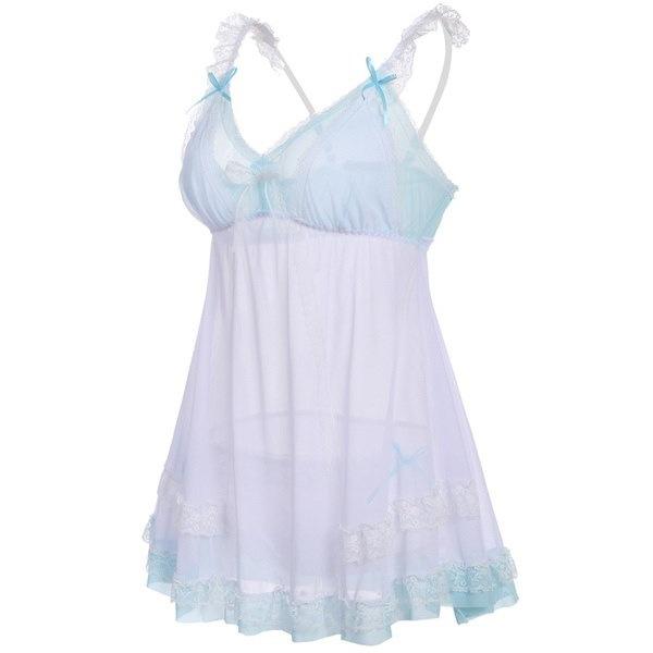 レディースノースリーブセクシーなパジャマパッチワークVネックのナイトの寝間着ボウレースドレス