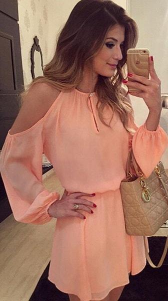 ファッション女性のシフォンドレスセクシーなロングスリーブ非対称バックレスドレスカジュアルミニワンピース