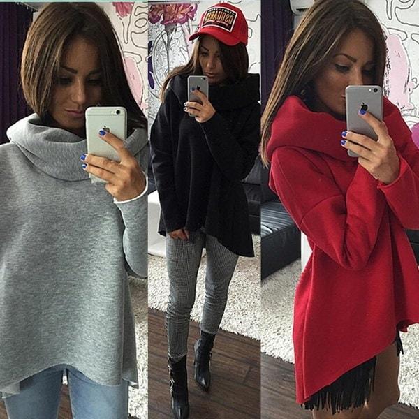 ファッション女性不規則な高首輪のブラウススタイリッシュなルーズセーターロングスリーブ冬のシャツ
