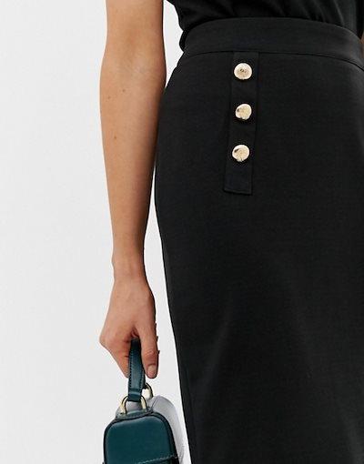 ユニークトゥエンティワン レディース スカート ボトムス Unique21 high waist pencil skirt with gold buttons