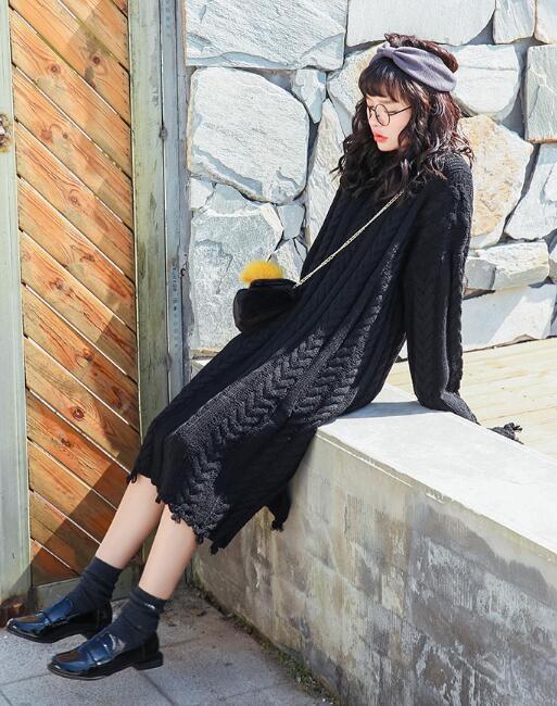 [55555SHOP]★ メビジュンブイネクロング・ニット / おしゃれなシルエットのファッションコーデー提案!ハイクォリティー/韓国ファッション/オフィスルッ
