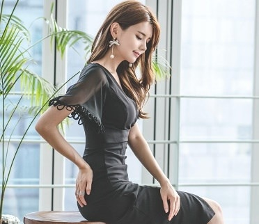 セクシーな袖デザイン膝丈V字リトルブラックドレス ボディコン 結婚式 2次会 婚活 パーティー お呼ばれ 0524