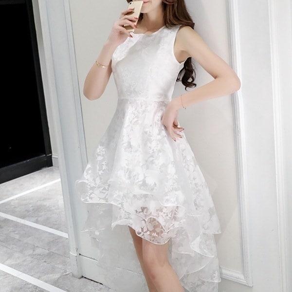 HOT Women O-neck Lace Double Layer Flower Prom Party Dress Beach Irregular Dress