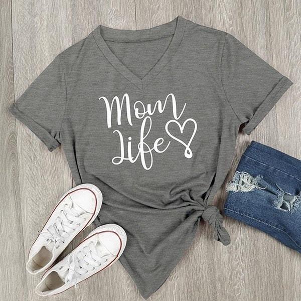 ママライフハートレタープリントVネックTシャツ半袖トップブラウスカジュアルシャツ