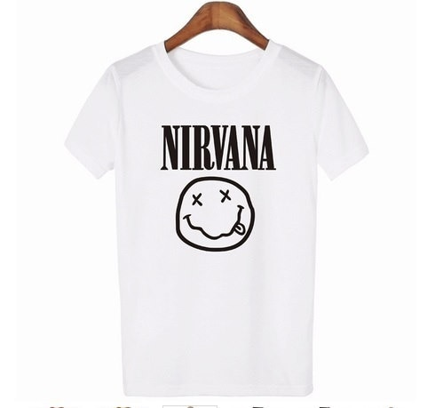 Tshirt Nirvana Smiley Face Rock team Print Cotton Casual Funny Shirt For Lady White Black Top