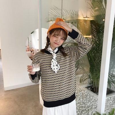 市松模様でかわいいカジュアルニットセーター 結婚式 婚活 二次会 お呼ばれ パーティー ドレス 2018