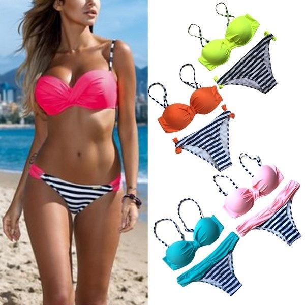 夏のファッション女性の水着は、ビキニセットビーチウエアスーツをプッシュアップ
