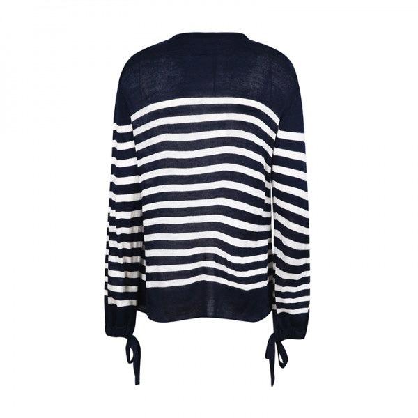 Womens Border Sweater ボーダープルオーバーセーター 袖のリボンが可愛い