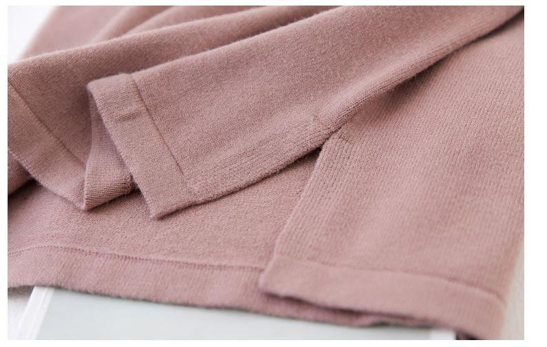 【即日発送】/ニット トップス レディースファッション 冬新作 膝丈 長袖 無地 ロングワンピース 4カラー/ふわふわり