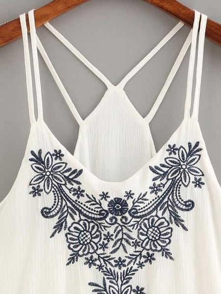 ホットセールファッション女性夏の刺繍タンクトップノースリーブカジュアルブラウスTシャツ刺繍Str
